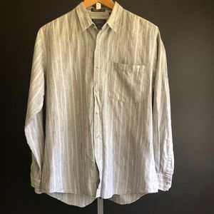 Single Needle Tailoring Striped Button Down Shirt